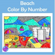Beach Color By Number End of Year Summer Activity Count Add Subtract